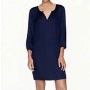 Navy silk j crew tonal shift dress